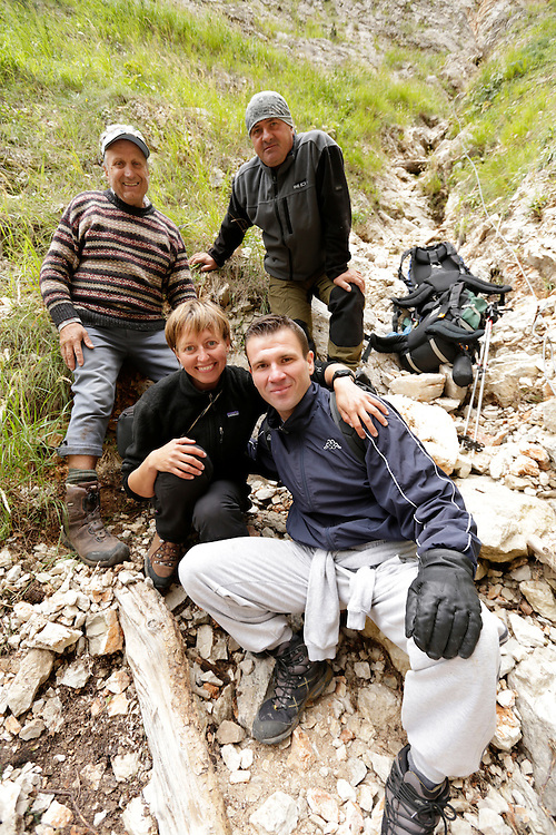 From l to r: Braco Zahirovic, Senad Djelmo Kulja, Elma Okic, and the stranded hiker Boris, following the successful rescue at Veliki Kuk, Čvrsnica mountain, Bosnia and Herzegovina.  The uninjured hiker was found standing on a very small ledge in a narrow couloir, unable to move in any direction due to its perilous position.