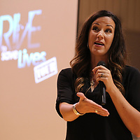 Cara Filler delivers her motviational speech about losing her twin sister in a car accident to students at Mooreville High School as part of The Drive to Save Lives Tour at high schools across the state.