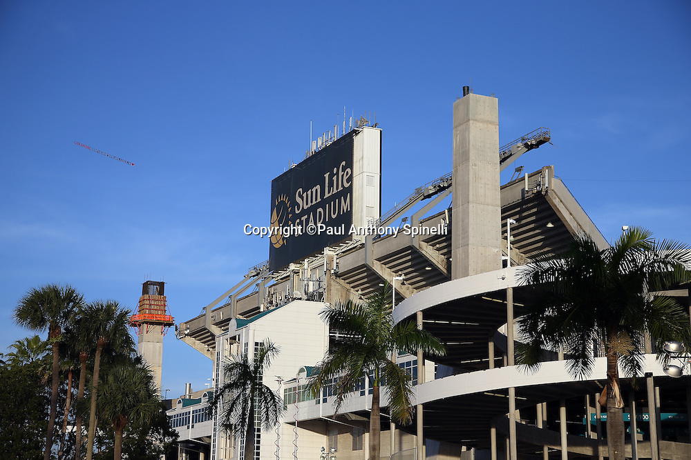 Sun Life Stadium stands tall before the Miami Dolphins NFL week 14 regular season football game against the New York Giants on Monday, Dec. 14, 2015 in Miami Gardens, Fla. The Giants won the game 31-24. (©Paul Anthony Spinelli)