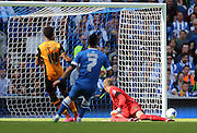 Hull City striker Chuba Akpom hits the post the Sky Bet Championship match between Brighton and Hove Albion and Hull City at the American Express Community Stadium, Brighton and Hove, England on 12 September 2015.