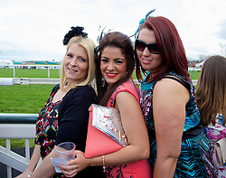 LIVERPOOL, ENGLAND - Friday, April 4, 2014: Lauren and friends during Ladies' Day on Day Two of the Aintree Grand National Festival at Aintree Racecourse. (Pic by David Rawcliffe/Propaganda)