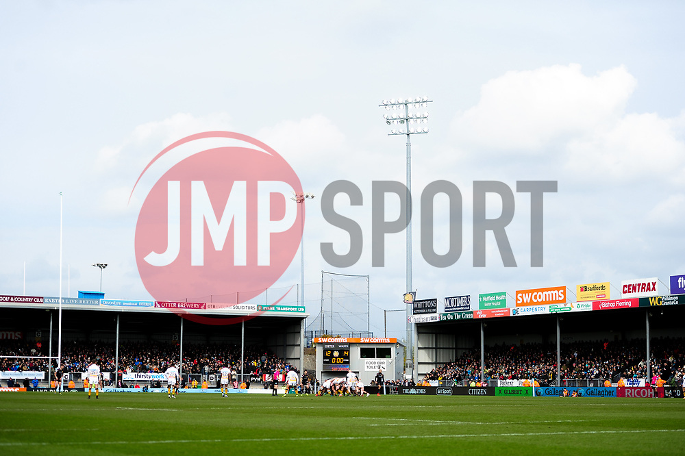 A general view during the game  - Mandatory by-line: Ryan Hiscott/JMP - 14/04/2019 - RUGBY - Sandy Park - Exeter, England - Exeter Chiefs v Wasps - Gallagher Premiership Rugby