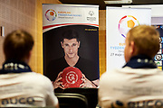 Warsaw, Poland - 2017 May 18: Press conference while the annual Special Olympics European Football Week at Legia Warsaw on May 18, 2017 in Warsaw, Poland.<br /> <br /> Adam Nurkiewicz declares that he has no rights to the image of people at the photographs of his authorship.<br /> <br /> Picture also available in RAW (NEF) or TIFF format on special request.<br /> <br /> Any editorial, commercial or promotional use requires written permission from the author of image.<br /> <br /> Image can be used in the press when the method of use and the signature does not hurt people on the picture.<br /> <br /> Mandatory credit:<br /> Photo by &copy; Adam Nurkiewicz / Mediasport