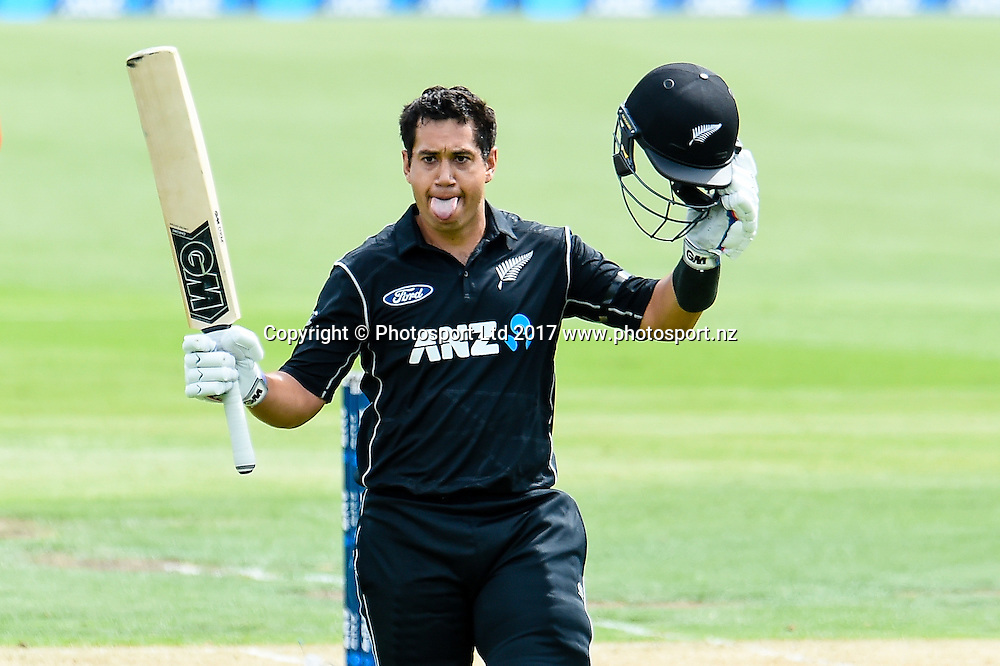 Ross Taylor of the Black Caps 100 runs during the 2nd ANZ  One Day International Cricket  match, New Zealand V South Africa, Hagley Oval, Christchurch, New Zealand, 22nd Febuary 2017.Copyright photo: John Davidson / www.photosport.nz