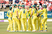 Australia complete the England innings during the Royal London Women's One Day International match between England Women Cricket and Australia at the Fischer County Ground, Grace Road, Leicester, United Kingdom on 4 July 2019.