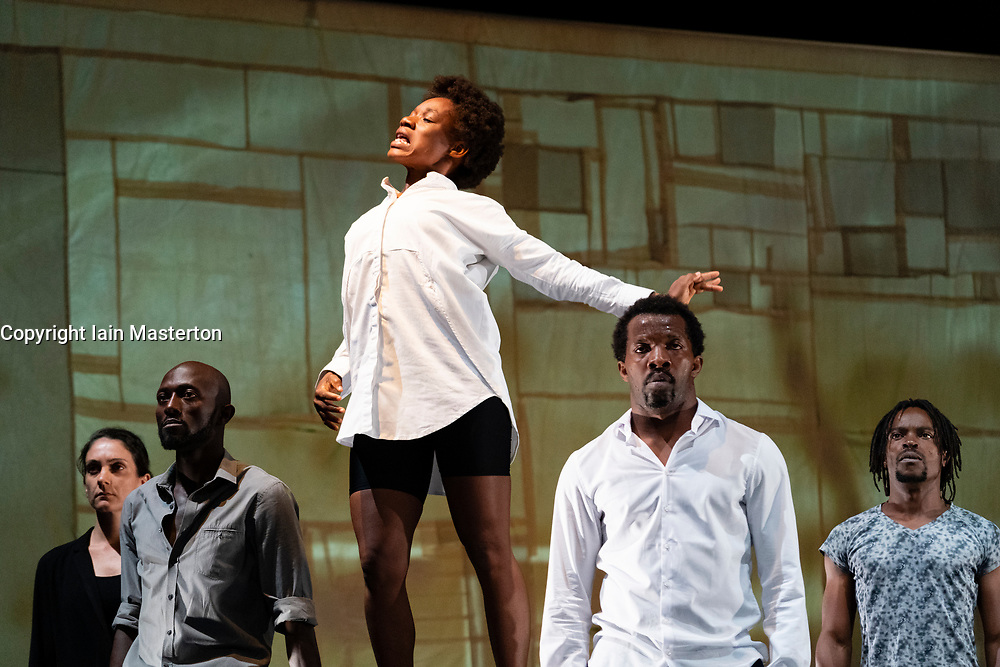 Edinburgh, Scotland, UK. 8 August 2019. Kalakuta Republik by Faso Danse Theatre and Serge Aime Coulibaly is a dizzying fusion of dance, music and revolution, inspired by the supercharged music and scandalous life of Fela Kuti. Pioneering dancer and choreographer Serge Aimé Coulibaly takes Kuti's life and beliefs as inspiration for this visually stunning, hypnotic dance work for seven performers that draws lines from African revolution in the 1970s to today's political resistance. Credit; Iain Masterton/Alamy Live News
