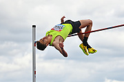 Brandon Starc (AUS) clears the bar on his way to winning the men's High Jump with a height of (7-6 1/2).30m during the Birmingham Grand Prix, Sunday, Aug 18, 2019, in Birmingham, United Kingdom. (Steve Flynn/Image of Sport via AP)