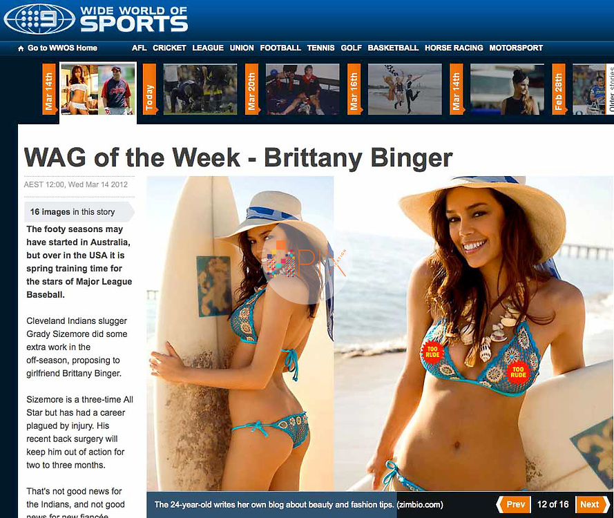 Beautiful Brittany Binger is featured online by WIDE WORLD OF SPORTS Australia. <br />