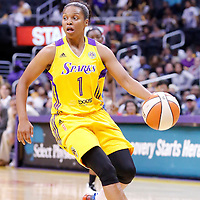 17 June 2014: Los Angeles Sparks guard Darxia Morris (1) dribbles during the Minnesota Lynx  94-77 victory over the Los Angeles Sparks, at the Staples Center, Los Angeles, California, USA.