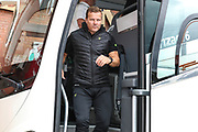 Forest Green Rovers manager, Mark Cooper arrives during the EFL Sky Bet League 2 match between Walsall and Forest Green Rovers at the Banks's Stadium, Walsall, England on 10 August 2019.