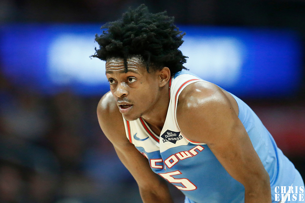 LOS ANGELES, CA - JAN 27: De'Aaron Fox (5) of the Sacramento Kings rests during a game on January 27, 2019 at the Staples Center in Los Angeles, California.