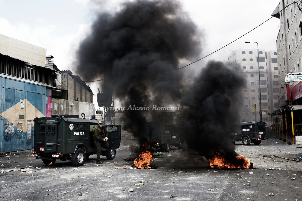 .Shufat refugee camp in Jerusalem on March 16, 2010. Hundreds of Palestinians clashed with security forces in east Jerusalem on as tension boiled over in the city and a senior Hamas leader called for a new 'intifada,' or uprising.© ALESSIO ROMENZI