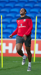 CARDIFF, WALES - Tuesday, August 9, 2011: Wales' Ashley Williams during a training session at the Cardiff City Satdium ahead of the International Friendly match against Australia. (Photo by David Rawcliffe/Propaganda)