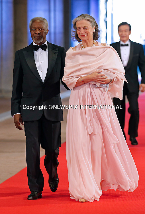 "KOFI ANNAN AND NANE LAGERGREN.attend the gala farewell dinner for Queen Beatrix at the Rijksmuseum in Amsterdam, The Netherlands_April 29, 2013..Crown Prince Willem-Alexander and Crown Princess Maxima will be proclaimed King and Queen  of The Netherlands on the abdication of Queen Beatrix on 30th April 2013..Mandatory Credit Photos: ©NEWSPIX INTERNATIONAL..**ALL FEES PAYABLE TO: ""NEWSPIX INTERNATIONAL""**..PHOTO CREDIT MANDATORY!!: NEWSPIX INTERNATIONAL(Failure to credit will incur a surcharge of 100% of reproduction fees)..IMMEDIATE CONFIRMATION OF USAGE REQUIRED:.Newspix International, 31 Chinnery Hill, Bishop's Stortford, ENGLAND CM23 3PS.Tel:+441279 324672  ; Fax: +441279656877.Mobile:  0777568 1153.e-mail: info@newspixinternational.co.uk"