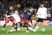 Valencia's Javi Fuego, Andre Gomes and Atletico de Madrid´s Antoine Griezmann during 2015/16 La Liga match between Valencia and Atletico de Madrid at Mestalla stadium in Madrid, Spain. March 6, 2016. (ALTERPHOTOS/Javier Comos)