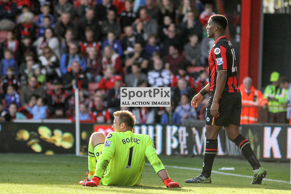 Artur Boruc looks dejected after his mistake cost Bournemouth another goal During Bournemouth vs Tottenham Hotspur on Sunday 25th of October 2015.