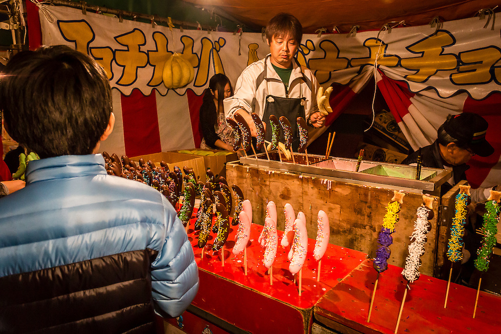 Chocobanana (bananas dipped in chocolate sauce) is also one of the many sweets sold in japanese matsuri (festivals)