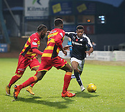 Dundee&rsquo;s Riccardo Calder runs at Partick Thistle&rsquo;s Mustapha Dumbuya and David Amoo - Dundee v Partick Thistle, Ladbrokes Premiership at Dens Park<br /> <br />  - &copy; David Young - www.davidyoungphoto.co.uk - email: davidyoungphoto@gmail.com