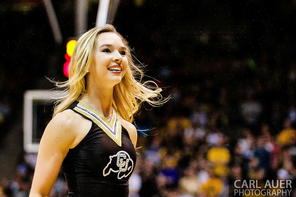 January 2nd, 2014:  A Colorado cheerleader during a break in second half action of the NCAA Basketball game between the Oregon State Beavers and the University of Colorado Buffaloes at the Coors Events Center in Boulder, Colorado