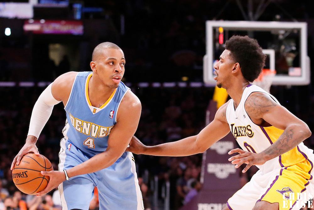 05 January 2014: Denver Nuggets shooting guard Randy Foye (4) looks to pass over Los Angeles Lakers small forward Nick Young (0) during the Denver Nuggets 137-115 victory over the Los Angeles Lakers at the Staples Center, Los Angeles, California, USA.