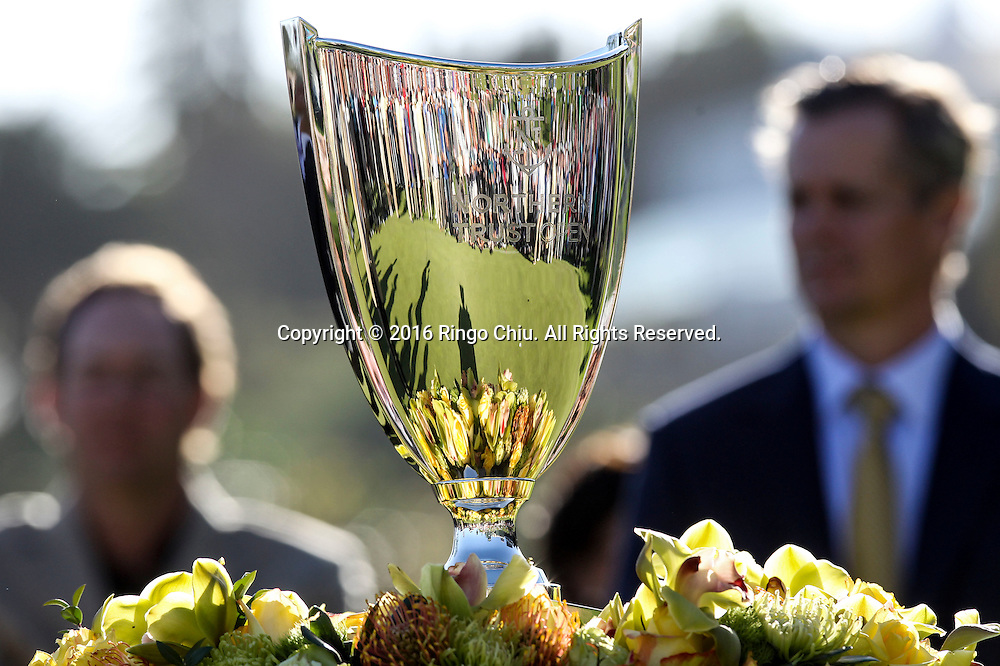 The trophy of the PGA Tour Northern Trust Open golf tournament at Riviera Country Club on February 21, 2016, in Los Angeles. Bubba Watson won the Northern Trust Open.(Photo by Ringo Chiu/PHOTOFORMULA.com)<br /> <br /> Usage Notes: This content is intended for editorial use only. For other uses, additional clearances may be required.