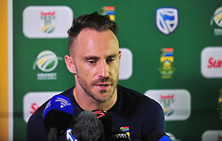Cape Town-180321 Proteas captain Faf du Plessie addressing the media at Newlands cricket stadium.The Proteas will play their third test against Australia this weekend .Photograph:Phando Jikelo/African News Agency/ANA