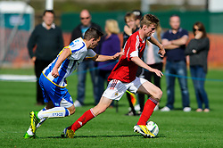 Harry Paice of Bristol City U18 is challenged by Des Hutchinson of Brighton U18 - Photo mandatory by-line: Rogan Thomson/JMP - Tel: 07966 386802 - 05/10/2013 - SPORT - FOOTBALL - SGS Wise Campus, Bristol - Bristol City U18 v Brighton & Hove Albion U18 - U18 Professional Development League 2.