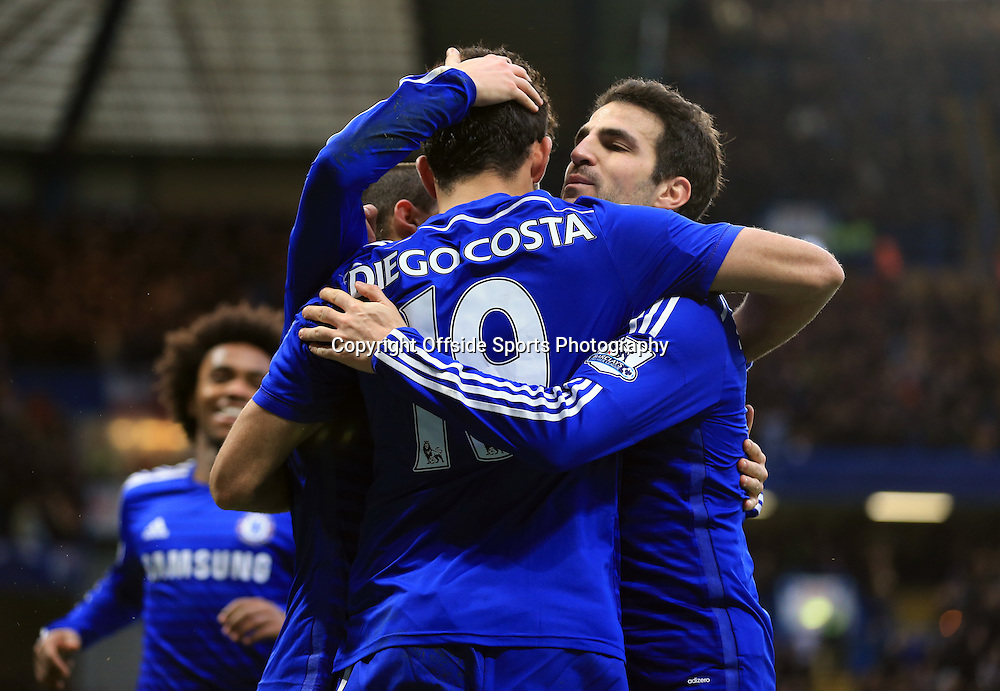26 December 2014 - Barclays Premier League - Chelsea v West Ham - Diego Costa of Chelsea celebrates with Cesc Fabregas - Photo: Marc Atkins / Offside.