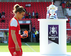 Bristol Academy's Jemma Rose walks past the FA Cup trophy - Photo mandatory by-line: Joseph Meredith/JMP - Tel: Mobile: 07966 386802 - 26/05/2013 - SPORT - FOOTBALL - Keepmoat Stadium - Doncaster . Arsenal Ladies v Bristol Academy WFC - The FA Women's Cup.