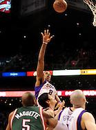 Feb. 2, 2011; Phoenix, AZ, USA; Phoenix Suns forward Channing Frye (8) puts up a basket against the Milwaukee Bucks at the US Airways Center. The Suns defeated the Buck 92-77. Mandatory Credit: Jennifer Stewart-US PRESSWIRE.