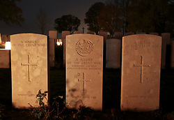 10 November 2018. Serre Road Cemetery No.1, near Serre, Somme, France. <br /> Remembering those who perished in the Great War. <br /> There are 2,126 British, 120 Canadian, 147 Australian, 27 New Zealand, 6 South African and 1 Newfoundland casualties of the First World War buried or commemorated in this cemetery. 1,728 of the graves are unidentified. Every year local residents light the cemetery with lanterns in a mark of respect to the dead.<br /> Photo&copy;; Charlie Varley/varleypix.com