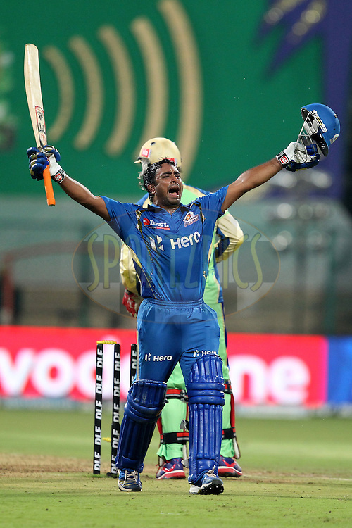Ambati Rayadu celebrates victory in match 62 of the the Indian Premier League ( IPL) 2012  between The Royal Challengers Bangalore and the Mumbai Indians held at the M. Chinnaswamy Stadium, Bengaluru on the 14th May 2012..Photo by Prashant Bhoot/IPL/SPORTZPICS