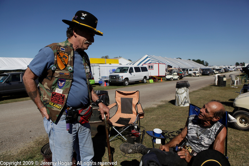 Jack Zallen, B Co, 1st Battalion, 7th Cavalry, left, survivor of the cutoff platoon at LZ Xray and Jerry Hogan, B Troop, 1/9th Cavalry 1969-1971 meet. Vietnam Veterans gather in Kokomo, Indiana for the 2009 reunion.