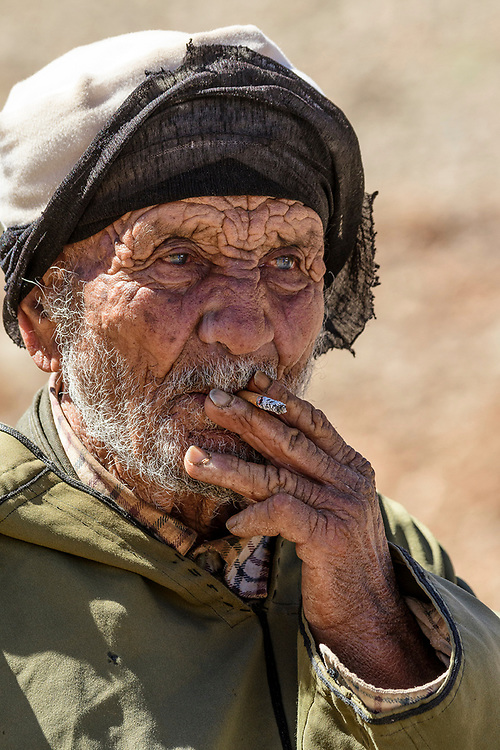 North Africa, Africa, African, Morocco, Moroccan, portrait of a nomad in the Atlas mountains