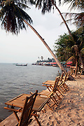 The sea front at Kep, with the crab market in the distance. The coastal town of Kep in the 1950's and 60's was the most exclusive retreat for the elite of Cambodia. Large villas, including those of the Kings and Prime Minister, dotted this untouched coastline. Then the Khmer Rouge took power and all the villas were either destroyed or left to the jungle, many even today remain in a dilapidated state. But now Kep is rising again and with careful planning may return to its former glory as Cambodia's most exclusive retreat.