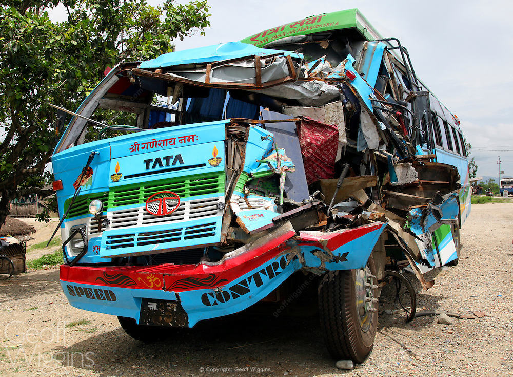 Nepali bus after head on collision on Nepal's Highway one near Demak City, Nepal