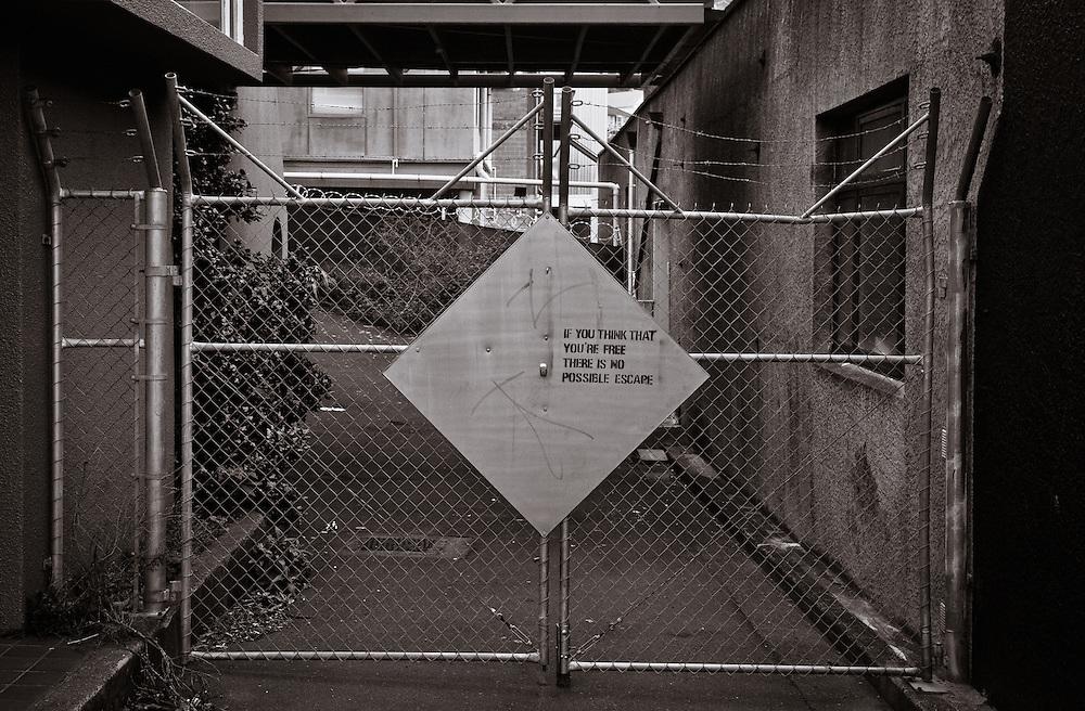 Ironic graffiti on a metal gate, Lyttelton NZ