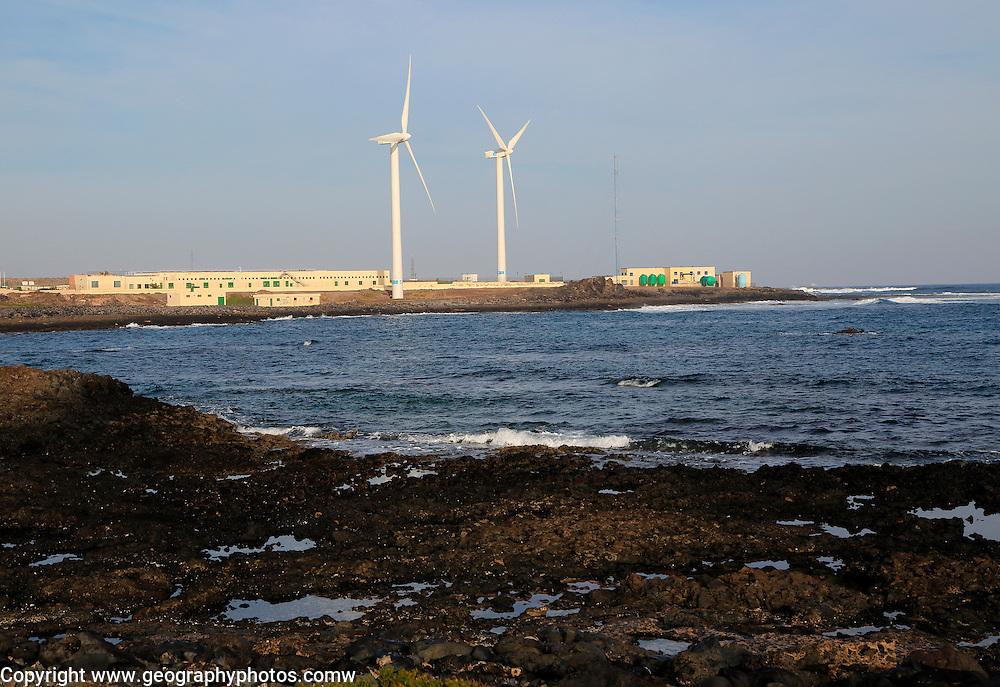 Wind turbines and desalination plant at Corralejo, Fuerteventura, Canary Islands, Spain