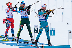 10.12.2017, Biathlonarena, Hochfilzen, AUT, IBU Weltcup Biathlon, Hochfilzen, Damen, Staffel, im Bild v.l.: Vanessa Hinz (GER), Marie Dorin Habert (FRA) // f.l.: Vanessa Hinz of Germany Marie Dorin Habert of France during women's Relay of BMW IBU Biathlon World Cup at the Biathlonarena in Hochfilzen, Austria on 2017/12/10. EXPA Pictures © 2017, PhotoCredit: EXPA/ JFK
