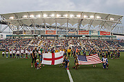 Aston Villa FC and Philadelphia Union  line up before a match at PPL Park in Chester, Pennsylvania, USA on Wednesday July 18, 2012. (photo - Mat Boyle)