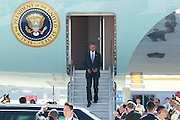 HZNGHOU, CHINA - SEPTEMBER 03: US President Barack Obama disembarks from Air Force One upon his arrival at Hangzhou Xiaoshan International Airport on September 3, 2016 in Hangzhou, Zhejiang Province of China. World leaders arrive in Hangzhou for the upcoming 2016 G20 Summit which will fall on September 4-5. <br /> ©Exclusivepix Media