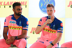 March 22, 2019 - Jaipur, Rajasthan, India - Rajasthan Royals players Jaydev Unadkat and Steve Smith  addressing the media person during the team jersey unveiled ceremony ahead the IPL 2019 matches  in Jaipur, Rajasthan, India  on March 22,2019. (Credit Image: © Vishal Bhatnagar/NurPhoto via ZUMA Press)