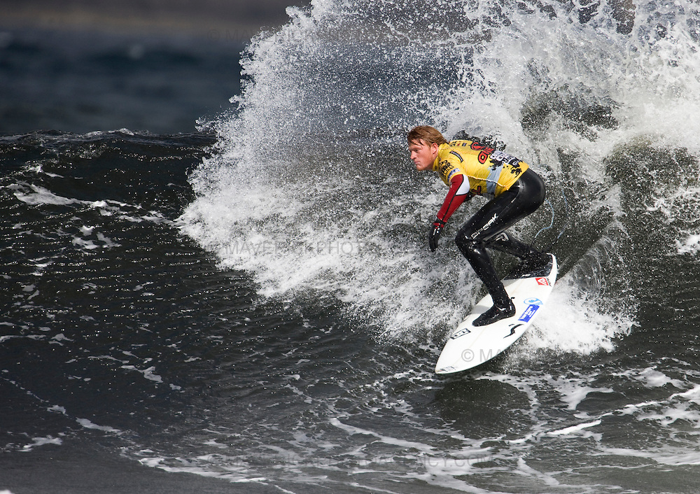 The worlds top surfers compete in the Annual O'Neil Highland Open at the famous surf break Thurso East on the north shore Scotland.  Pictured Rowan Aish from New Zealand throws up some spray on a Thurso East wave.