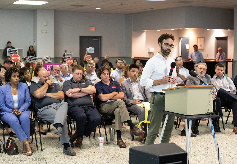 Earthjustice Lawyer speaking at  Louisiana's Department of Environmental Quality samples of pollution from Formosa's plant in Texas at  public hearing on whether to approve the 15 air permits for Taiwanese company Formosa Plastics in Vacherie, LA on July 9, 2019