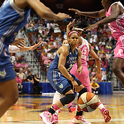 Maya Moore, Minnesota Lynx, threads a pass to a team mate during the Connecticut Sun Vs Minnesota Lynx, WNBA regular season game at Mohegan Sun Arena, Uncasville, Connecticut, USA. 27th July 2014. Photo Tim Clayton