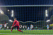 MELBOURNE, VIC - NOVEMBER 09: Wellington Phoenix goalkeeper Filip Kurto (1) looks on as the ball passes the goals at the Hyundai A-League Round 4 soccer match between Melbourne City FC and Wellington Phoenix on November 09, 2018 at AAMI Park in Melbourne, Australia. (Photo by Speed Media/Icon Sportswire)