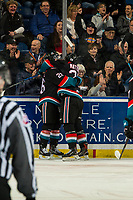 KELOWNA, CANADA - DECEMBER 5: Liam Kindree #26 and Leif Mattson #28 of the Kelowna Rockets celebrate a goal against the Tri-City Americans on December 5, 2018 at Prospera Place in Kelowna, British Columbia, Canada.  (Photo by Marissa Baecker/Shoot the Breeze)