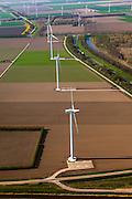 Nederland, Flevoland, Zeewolde, 01-05-2013; Wind farm De Zuidlob. Het windmolenpark (windpark) is een initiatief van  lokale agrariers / boeren en Nuon - Vattenfall . ..The wind farm in the polder Flevoland is an initiative of local farmers and Nuon - Vattenfall..luchtfoto (toeslag op standard tarieven).aerial photo (additional fee required).copyright foto/photo Siebe Swart