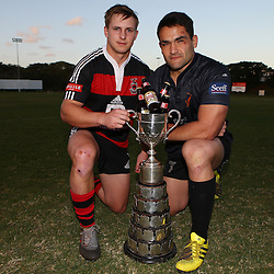 DURBAN, SOUTH AFRICA, 8th August, 2016 - Andrew Holland captain of SA Home Loans Durban Collegians with Kevin Buck  captain of Amanzimtoti Rugby Club during the press conference prior to the Final of the Castle Murray Cup knockout rugby match between  Amanzimtoti Rugby Club and SA Home Loans Durban Collegians at the Crusaders rugby club Durban North,Durban, South Africa. (Photo by Steve Haag)<br /> <br /> images for social media must have consent from Steve Haag