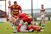Bradford Bulls prop Mikolaj Oledzki (31) is tackled during the Kingstone Press Championship match between Dewsbury Rams and Bradford Bulls at the Tetley's Stadium, Dewsbury, United Kingdom on 10 September 2017. Photo by Simon Davies.